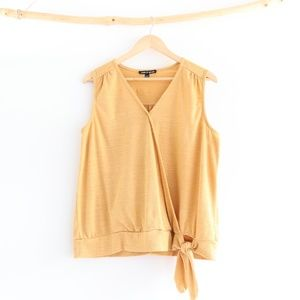 Cable & Gauge Sleeveless Mustard Tie Front Shirt